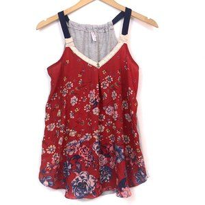XHILARATION Red Pink Gray Floral Crochet Tank Top